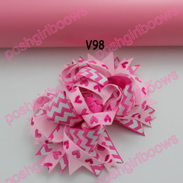 Wholesale newest Valentine s day hair bows B Girl boutique bows Valentine hair clips heart ribbon hair clippie