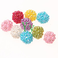 Acrylic, Plastic, Lucite acrylic about 100pcs per bag Randomly mix colors 100 pcs chunky round 22MM berry shape crochet pearl ball beads wih seed beads paves for DIY jewelry making.