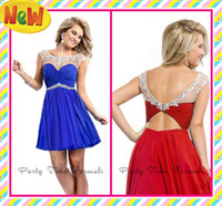 Wholesale 2014 Fashion Party Dresses Royal Blue Red Mini Sheer Straps With Colored Rhinestones Open Back Ruffles Short Prom Cocktail Homecoming Gowns