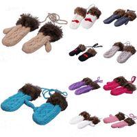 Wholesale Warm Women Rabbit Fur Halt Top Gloves Winter Soft Halterneck Mittens Colors Choose DSM