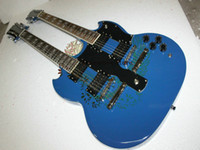 Cheap Wholesale - Custom 1275 Double Neck Guitar Blue Electric Guitar Bule High Quality Musical instruments