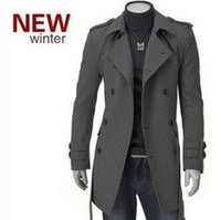 Cheap Winter 2014 brand men casual gray and black fitted formal slim fit long double breasted duffle coat manteau homme