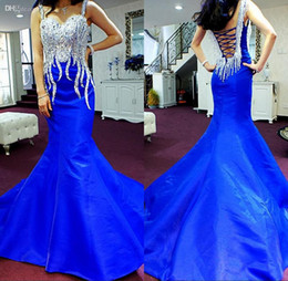 New Arrival 2018 Evening Dresses Sweetheart Straps Sexy Backless Mermaid Court Train Luxury Beaded Long Royal Blue Formal Gowns Party Dress