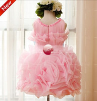 Real Photos Toddler Beads 2014 kids children girls princess dress big flower wedding dresses TUTU birthday gift