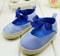Wholesale 2014 latest Square mouth toddler shoes Blue stripes baby shoes CM soft soled shoes Ribbon bow walking shoes pair CL