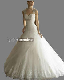 Wholesale 100 No copy Backless Wedding dresses Sweetheart Neckline Pleated and Crystals bodice Lace Applique Ball gown Court train Zipper buttons