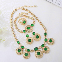 Wholesale Gold Plated Fashion Jewelry Natural Light Green Jade Stone Earrings Bracelet Necklace Women Necklace Set A065