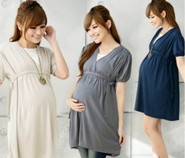 Wholesale HOT cotton summer pregnant maternity dresses nurse one piece dress short sleeve casual feeding big size