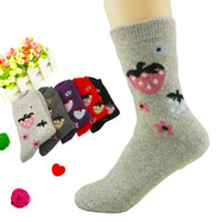 Wholesale New Women Lady Wool socks strawberry pattern thickening warm wool socks sweat protection