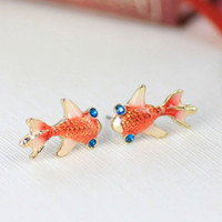Cheap 6 pcs lotMin.order is $10 (mix order)Free Shipping& Fashion Vintage Nifty And Lovely Red Carp Earrings Goldfish Stud earrings (Red) E108