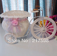 Wholesale 1pcs PE storage rattan tricycle artificial flowers wedding decoration living room dining table