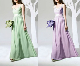 Fascinating Prom Gowns Sexy V-neck Spaghetti Strap Ruffle Floor-Length Bridesmaid Dress Girls Chiffon Party Gown Prom Dresses