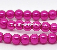 Wholesale Strands Fuchsia Round Glass Pearl mm Beads quot B11405