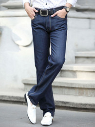 Wholesale Classic Deep Blue Denim Cloth Straight Men s Jeans r97 u14 GC