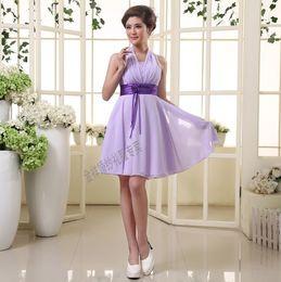 Generous chiffon Spaghetti Strap sleeveless Knee length bridesmaid dresses black sash party dresses Bridesmaid Dress