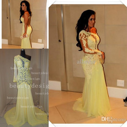 Wholesale Gorgeous sexy yellow chiffon mermaid prom dresses sweep train lace one shoulder backless long sleeve formal evening red carpet gowns AS635