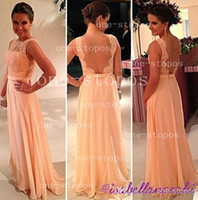 Wholesale 2014 Cheap Bridesmaid Dresses Crew Neck Lace Illusion Appliques Chiffon Sash Backless Floor Length Formal Prom Gowns Under BO3396