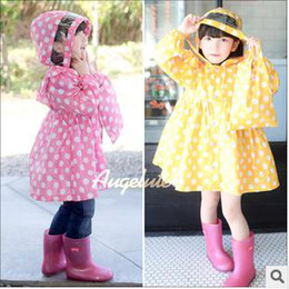 Wholesale Angelute girls raincoat hooded dot princess design pink yellow