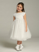 Wholesale White Applique Beads Flower Girl Dresses Ball Gown Pageant Dresses Short Sleeve Tea Length