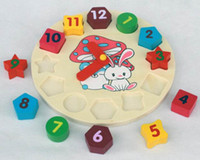 Wooden wooden matches - Baby toy Colorful cartoon digital geometry clock wooden toy intellect toy puzzle matching game