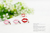 Wholesale 6 lotMin order is mix order amp Sexy Lips Rock Girl Smoke Earrings Red and Pink E759 E760