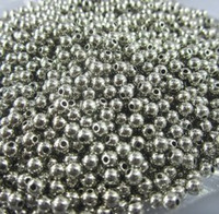 Wholesale 4mm Round Silver Smooth Spacer Beads