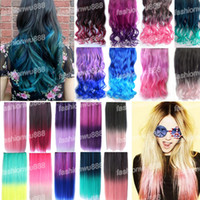 Wholesale 18 quot quot Rainbow Fading Color Clip In Hair Extensions Straight Curly Synthet Colors