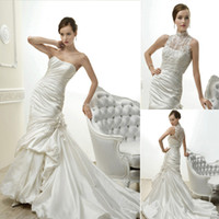 Trumpet/Mermaid Reference Images Strapless Sexy Princess Strapless Neckline Lace High Collar Jacket Long Bridal Dress Pleated Satin Mermaid Court Train Cosmobella Wedding Dresses Gown