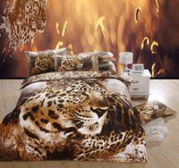 Wholesale Bedding set cotton leopard Tiger unique animal bedlinen for queen size bed sheet linens sets cotton reactive printing
