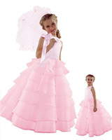 Reference Images Girl Beads 2014 Free Shipping New Style Princess Flower Girl Wedding Layers Sleeveless Dress Baby to Teen Satin Bowknot Flower Girl Dress DL132000297