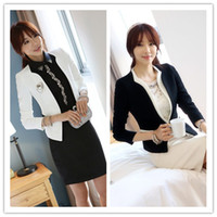 Wholesale Elegant Lady Panelled Blazers V Neck Long Sleeve Slim Suits Outwear Autumn Fashion Women Outwear Black White KR0810