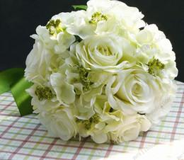 Wholesale 26cm White Artificial Cascading Silk Wedding Rose Flower Bouquet MYY8370