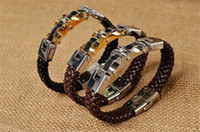 Wholesale 2014 new chunky titanium charm punk leather bracelet L steel clasp hiphop rock men black brown braided wrap leather bracelet