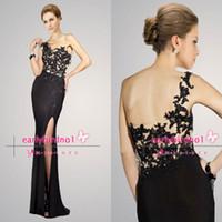 ap summer - 2014 Spring Summer Long Prom Dresses Sexy One Shoulder Applique Lace Satin Side Split Black Vintage Glitz Formal Evening Gowns AP