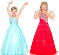 aqua color flowers - Aqua green Red New One Shoulder Red Chiffon A Line girls Pageant Dresses Rhinestones Beaded Top Flower Girl Gowns S