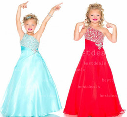 Wholesale Aqua green Red New One Shoulder Red Chiffon A Line girls Pageant Dresses Rhinestones Beaded Top Flower Girl Gowns S