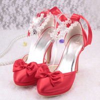 Wholesale Colors Customize Handmade Iuxury Red Sexy High heeled Beading Lace Up Waterproof Shoes For Wedding Bow Bowknot