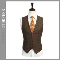 Wholesale Super s wool Fashion brown Five buttons men s dress vest v9 New Hot Sale top quality