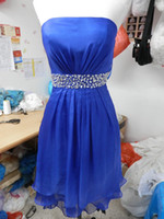 Cheap 2014 Sexy Cocktail Dresses Praty Gowns Blue Strapless Chiffon Crystals Shiny Short Wholesale Free Shipping Cheap