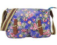 Wholesale New Spring Pink Flower Sactchel Bag Handbag Tote School Holiday Printing Cupca Canvas Large Crossbody Messenger Bag VK1772