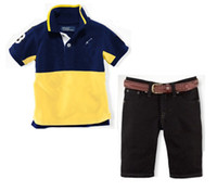 Boy Summer Short 2014 summer casual brand baby Boy's 2piece suits Children's clothing sets short-sleeve t-shirt + jeans pants short free shipping
