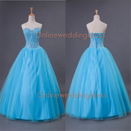 Wholesale In Stock Dresses Sweetheart Quinceanera Dresses Beads Crystals Floor Length Tulle Ball Gown Prom Dresses Sweet Dresses SW0023