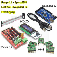 Logic ICs other For 3D printer Promotion Sale New Mega 2560 R3 + Ramps 1.4 + 5pcs A4988 + LCD 2004 with Controller For ramps kit and RepRap 3D Printer Kits Freeshipping