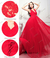 Wholesale 2014 Real Sample Red Prom dress Chiffon V neck full length Evening Dress