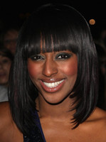 straight African-American Wigs Christmas Fashion Stylish Medium Straight Capless Synthetic Wigs For Black Women