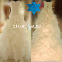 Cheap Real Picture A-line sweetheart floral Puffy ruffles pleat spring summer cathedral train chapel beach garden WEDDING DRESSES BRIDAL GOWN