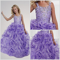 Wholesale 2014 Hot Cute Girl s Pageant Gowns Spaghetti Straps Lilac Purple Organza Rhinestone Beads Glitz Flowers Formal Girl Dress