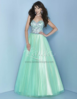 Wholesale 2014 Charming Prom Dresses Rhinestone Beaded A Line Sweetheart Sleeveless Back Open Stain Floor Length Pageant Gowns