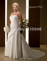 Trumpet/Mermaid Reference Images Chiffon Customized Strapless Applique Ruched Satin Corset Plus Size Wedding Dresses