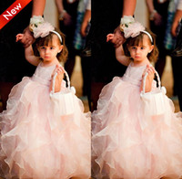 Girl ankle length dresses - Fancy Design Hottest Selling New Fashion Jewel Ankle Length Ruffles Baby Pink Organza Cute Ball Gown Little Kids Lovely Flower Girl Dresses